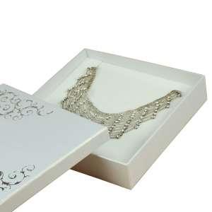 Pudełko LENA kolia białe+srebrny nadruk