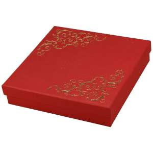 Pudełko LENA kolia czerwone+Złoty nadruk
