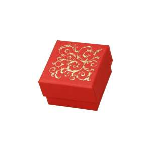 LENA Ring Jewellery Box - Red + gold print