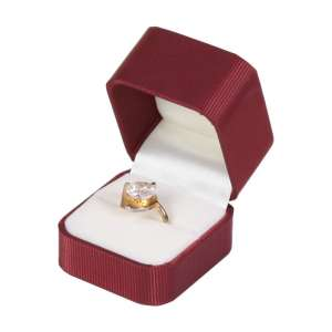 SATIN Ring Jewellery Box - Burgundy