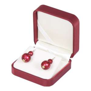 SATIN Earrings Jewellery Box - Burgundy