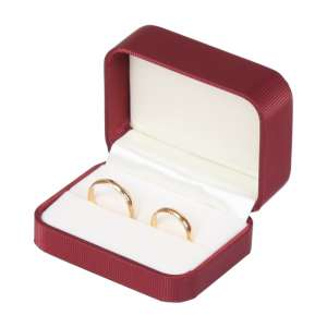SATIN Wedding Rings Jewellery Box - Burgundy