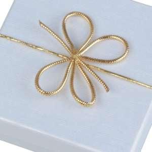 Kokardka elastyczna obwód 16 cm. złota - 50 szt.