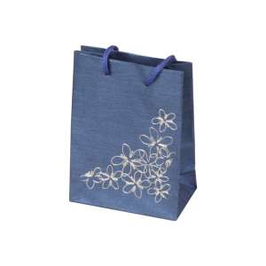 TINA FLOWERS Paper Bag 9x12x5 cm. Blue