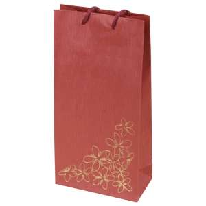 TINA FLOWERS Paper Bag 12x24x6 cm. Burgundy