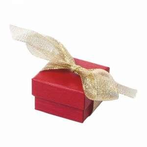 Pudełko LENA pierść.czerwone z tasiemką brokat
