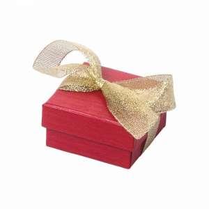 Pudełko LENA uniw.małe czerwone z tasiem. brokat