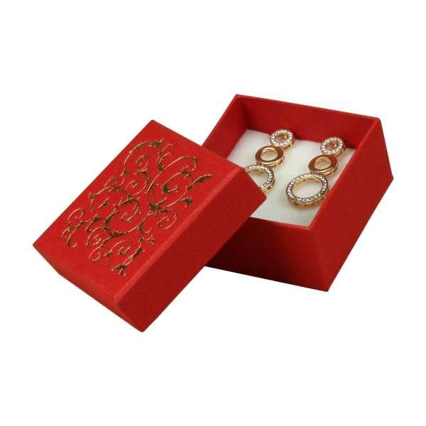 LENASmall set Jewellery Box - Red + gold print