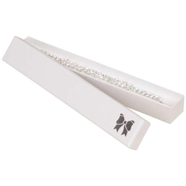 Pudełko TINA kokardka bransoletka białe