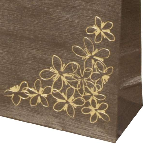 Torebka TINA kwiatki brązowa 9x12x5 cm