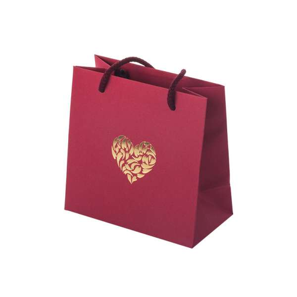 MAYA HEART Paper Bag 150x150x80mm. - burgundy