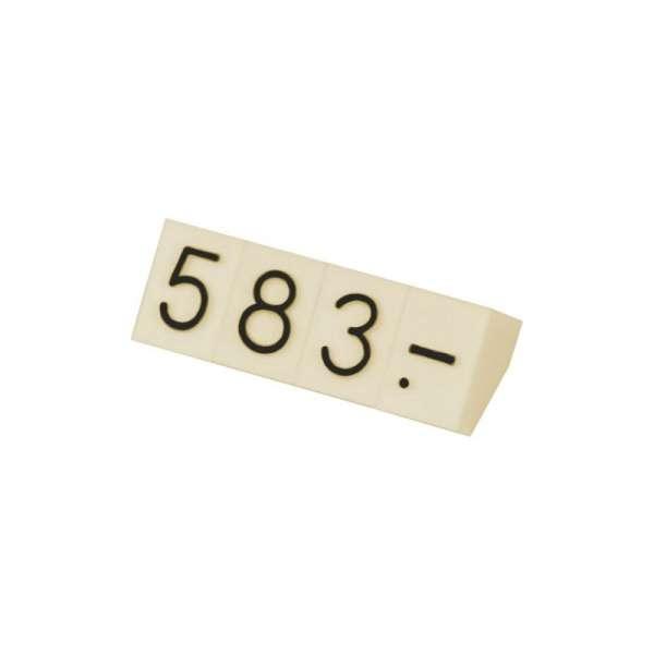 Cenówki zestaw 230 szt.- ecru, czarne cyfry 5 mm